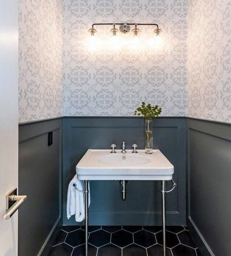 Small Bathroom With Black Wainscoting And Wallpaper Black Wainscoting Wainscoting Bathroom Small Bathroom Wallpaper