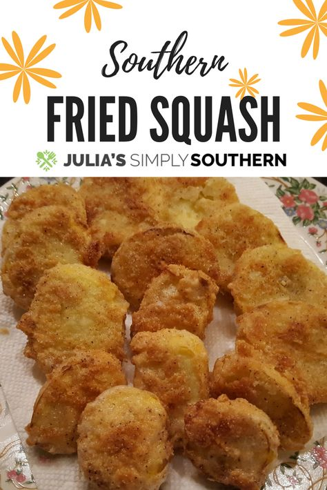 for recipes to use that fresh from the garden yellow squash?Julia's Simply Southern Fried Squash Recipe is a delicious Southern favorite side dish. Skillet fried and crunchy. Fried Squash Recipes, Yellow Squash Recipes, Summer Squash Recipes, Recipe For Fried Yellow Squash, Cooking Yellow Squash, Side Dish Recipes, Vegetable Recipes, Squash Fries, Oven Fried Squash