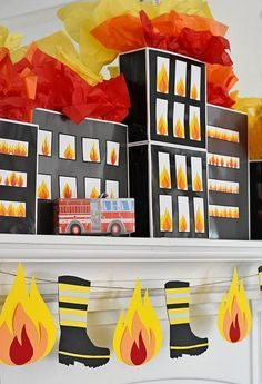 Third Birthday, 3rd Birthday Parties, Birthday Party Decorations, Party Themes, Fire Truck Birthday Party, Birthday Ideas, Fireman Party, Firefighter Birthday, Firefighter Decor