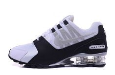 Mens Nike Shox NZ White Black Silver Athletic Running Shoes