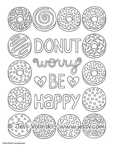 Sweets Treats Jess Volinski Donut Coloring Page Cupcake Coloring Pages Free Coloring Pages