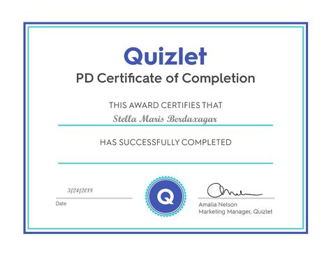 A Pd Certificate Certificate Of Completion Learning Teacher