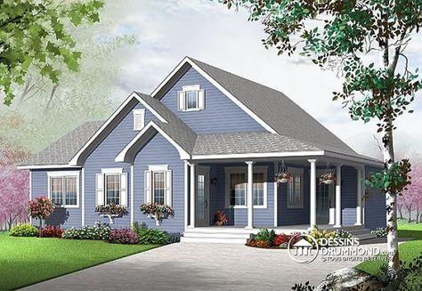 Bungalow de style champêtre avec grande galerie couverte sur 2 façades, bureau à domicile ou 3 chambres, belle cuisine fonctionnelle et espace ouvert !  http://www.dessinsdrummond.com/detail-plan-de-maison/info/1003105.html