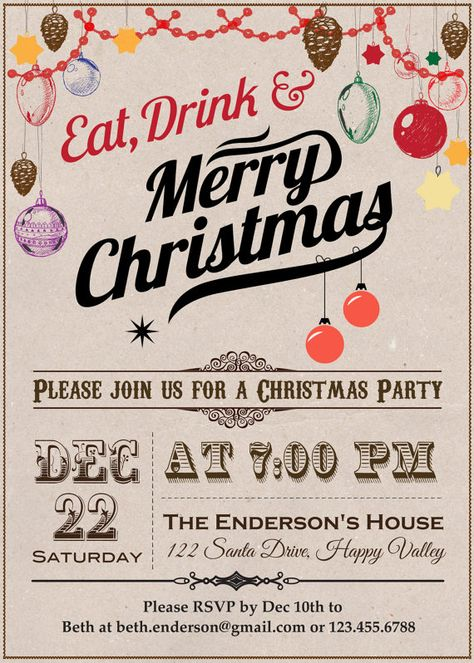 Printable Vintage Christmas Party by ThePaperWingCreation on Etsy