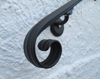 12 Ft Wrought Iron Hand Rail Wall Rail Stair Step Railing Wall Etsy Wrought Iron Handrail Iron Handrails Wall Railing
