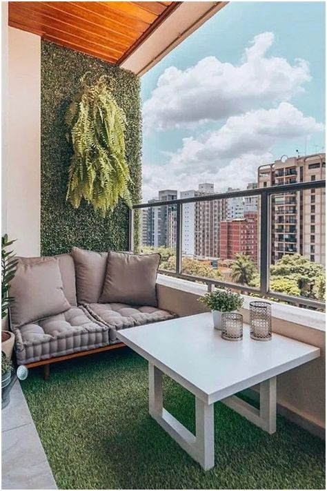 Balcony Green Wall Ideas: Vertical Living Wall - Unique Balcony & Garden Decoration and Easy DIY Ideas Garden Garden apartment Garden ideas Garden small Small Balcony Design, Small Balcony Garden, Small Balcony Decor, Outdoor Balcony, Terrace Design, Small Patio, Patio Balcony Ideas, Modern Balcony, Outdoor Patios