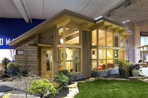 An eco-friendly pre-fab houses. Like all the windows on one side :)