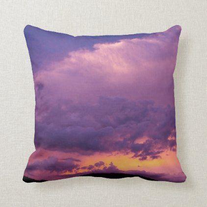 Sunset Sky Cloudy Purple Landscape Nature Summer Throw Pillow Zazzle Com Summer Throw Pillow Sunset Sky Sunset Pillow