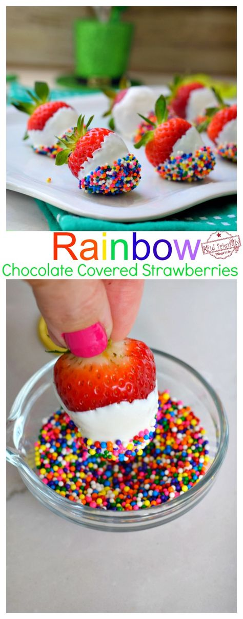 Make these easy, fun and tasty Rainbow Chocolate Covered Strawberries for your rainbow dessert table at unicorn parties, St. Rainbow Desserts, Rainbow Treats, Kid Desserts, Rainbow Food, Dessert Recipes, Rainbow Baking, Easy Desserts For Kids, Rainbow Theme, Dinner Recipes