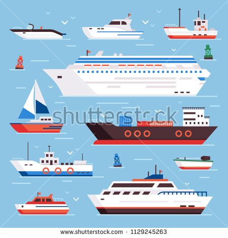 Sea Ships Cartoon Boat Powerboat Cruise Liner Navy Shipping Ship