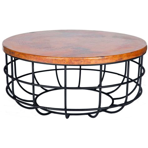 10 Round Hammered Copper Coffee Table