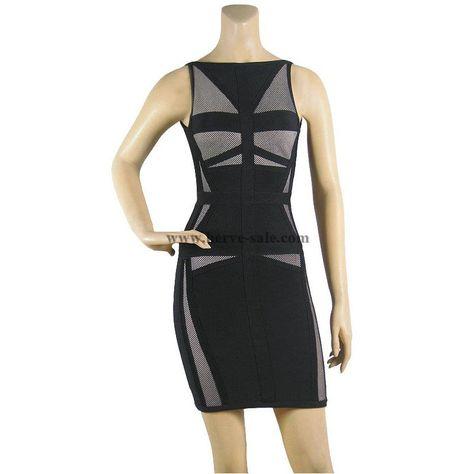 Herve Leger Black Boat-neck Bandage Dress HL573B