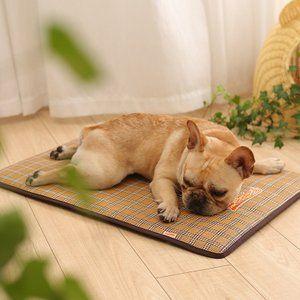 6 18再再入荷 ペット用ベッド 犬猫兼用 マット 子猫 冷感藤編素材編み安眠 夏用 滑り止め ひんやり 小型 中型 大型犬用 柴犬 スポンジ 涼しい席 L 100 69cm 大型犬 子猫 人気の犬種