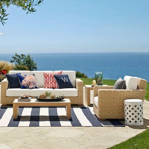 Patio Stripe Indoor/Outdoor Rug, Dress Blue   Williams Sonoma