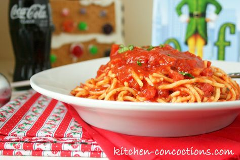 "Kitchen Concoctions: Dinner n' a Movie: ""Elf"" and Buddy the Elf's Maple Syrup Spaghetti"