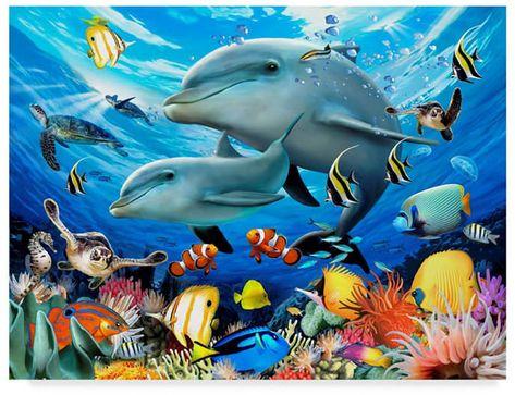 Trademark Global Howard Robinson 'The Dolphins' Canvas Art - 24 x 18 x 2