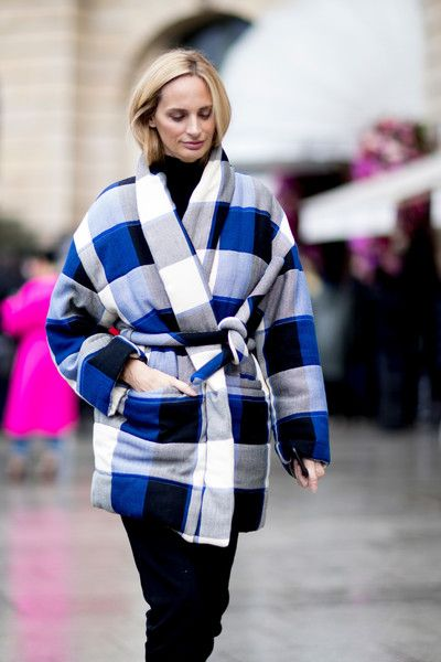 Lauren Santo-Domingo's Plaid Blanket Quote - Fabulous Winter Street Style From Paris Couture Week Spring 2018 - Photos