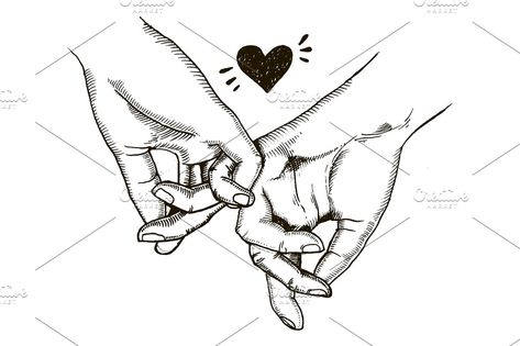 Couple in love hold hands engraving vector vector couple love hand hold heart sign symbol family relationship finger cartoon black white engraving etching woodcut engraved scratch board illustration clip art design hand drawn poster isolated retro vintage white background drawing color drawn old graphic handmade ink line