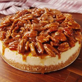 Take your pecan pie to the next level. You can make the topping up to an hour in advance and keep at room temperature. But don't refrigerate it or else the butter will solidify! Get the recipe at Delish.com. #thanksgiving #recipes #easy #easyrecipes #dessert #pecanpie #cheesecake #Delish #cake