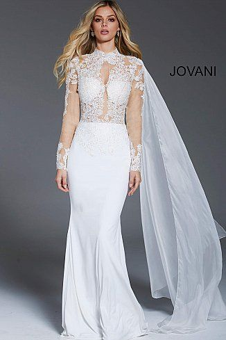 Off White High Neck Long Sleeve Fitted Dress 57796 Jovani