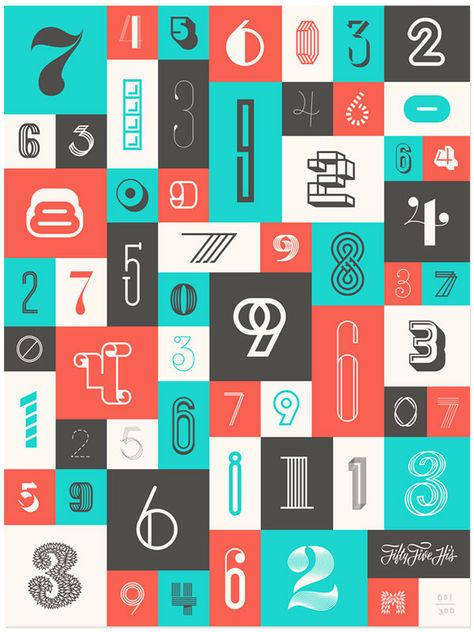 Number Specimen Variety digits // Numbers 1 Poster by 55 Hi&