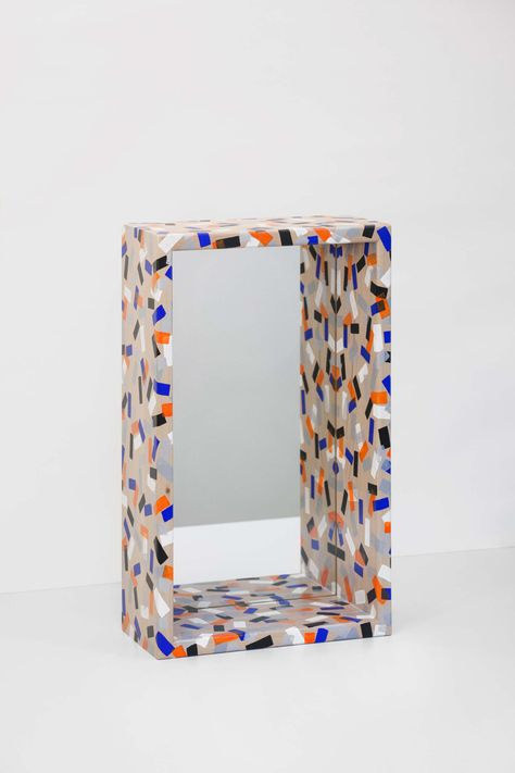 FLOCONS mirrors - 2016 - Beech, paint, clear varnish, mirror - These mirrors are covered with thousands of small colorful dots randomly made one by one with a.