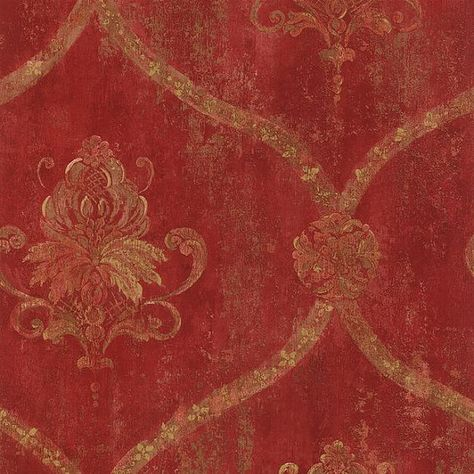 Gold Lattice and Floral Damask on Distressed Red, Aged, Worn, Old, Victorian…