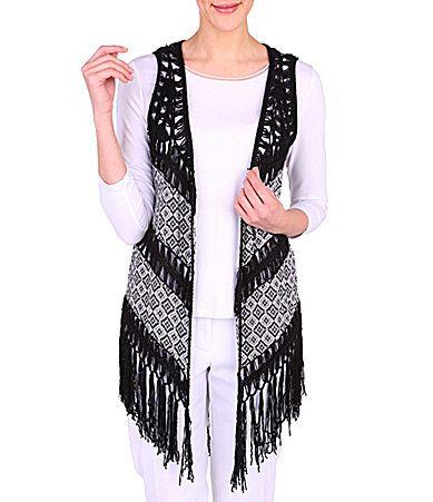 Peter Nygard Fringe Kimono Vest 79.00 acrylic black/grey szS 8/19