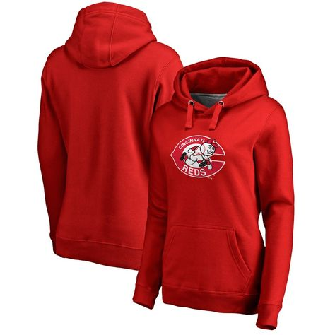 Women's Cincinnati Reds Fanatics Branded Red Cooperstown Collection Forbes Pullover Hoodie