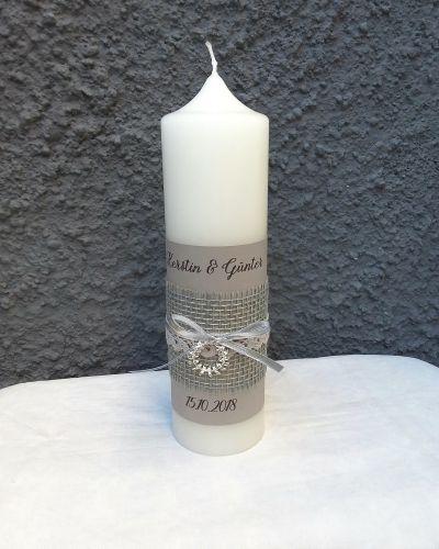 Hochzeitskerze Kerze Zur Silberhochzeit Kranz Vintage Boho Silber Grau Silberhochzeit Hochzeitskerze Und Moderne Kerzen
