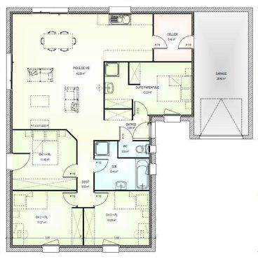 Plan maison 110m2 plain pied ventana blog for Plan maison 110m2 plain pied