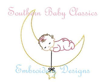 Baby Girl Moon Star Sleeping Vintage Quick Stitch Vintage Design File For Embroidery Machine Instant Download B Quick Stitch Machine Embroidery Baby Embroidery