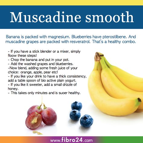 We created a bunch of recipes that could help folks with fibromyalgia.  Try resveratrol in grapes, and potassium in banana. This smoothie is for your blood cells and muscles.