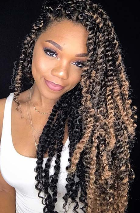 Long Twists With Warm Blonde Twist Braid Hairstyles Twist Hairstyles Box Braids Hairstyles