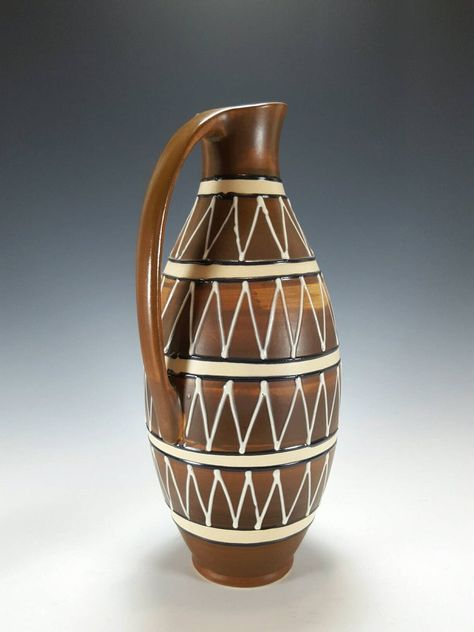 Bulbous Vintage 70s Ribbed Studio Pottery Ceramic Vase Mid Century Modern