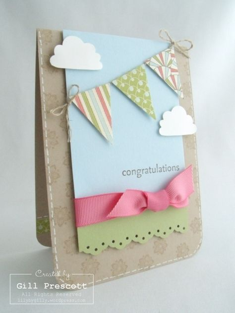 Stampin Up, Card, Everyday Enchantment DSP & Pennant punch. By Gill Prescott