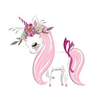 Cute unicorn girl cartoon hand drawn Vector | Premium Download