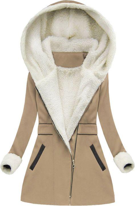 Plaszcz Zimowy Z Kapturem Cappuccino 68art Clothes Coat Jackets