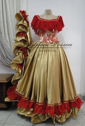 Roupa Cigana Em Vermelho E Dourado Cod 03047 Roupa Cigana