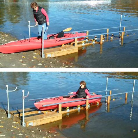 Multinautic Wood Kayak Ramp Kit with 16 in. x 4 in. - The Home Depot Canoe And Kayak, Kayak Fishing, Kayak Camping, Kayak Rack, Kayak Storage Rack, Lake Dock, Boat Dock, Canoa Kayak, Haus Am See