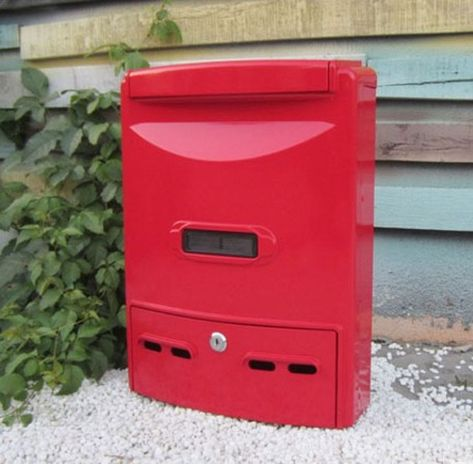 E28 Red Lockable Wall Mounted Post Home Balcony Garden Letter Box Mailbox Letter Box Wall Mount Mailbox