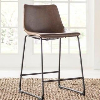 Rico Modern Kitchen Island Counter Stool 26 H Orange Pu Set Of