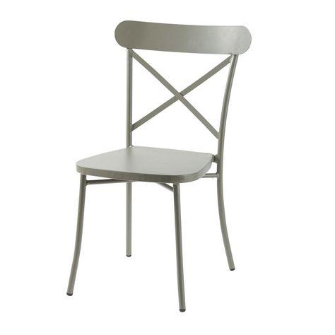 Chaise de jardin bistrot en métal vert kaki | Products en ...