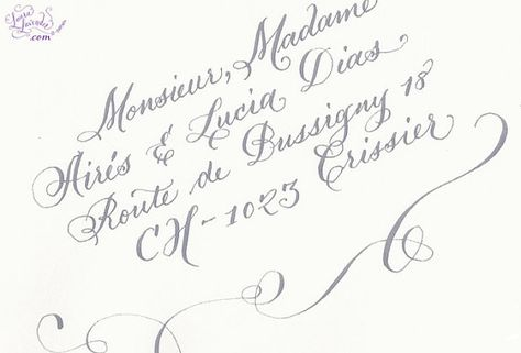 Calligraphy Envelope Addressing Grey on by