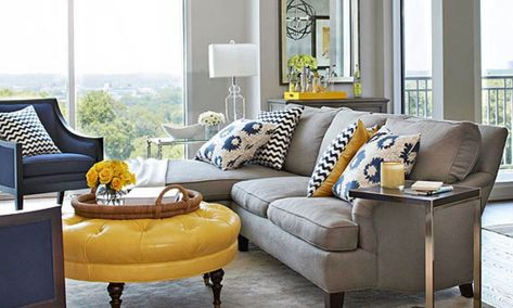 White Gray Navy Yellow I Want This Color Scheme In My Living Room ASAP Love It