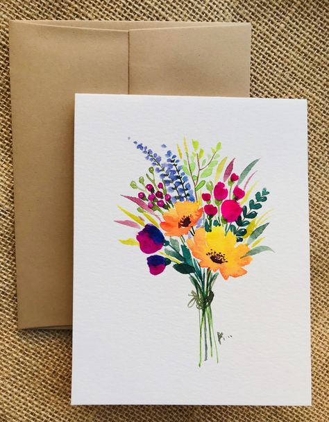"""Check our beautiful collection of hand painted greeting cards with flowers! Painted with high quality watercolors by an artist from Canada. Perfect as a greeting card for Birthday, Mother's Day, Congratulations, Anniversary, Thank You, Get Well Soon or an Invitation. It can be framed as an original gift of mini art. Made out of textured 300g watercolor paper, folded and blank inside. White envelope provided. Card's Measurements: 4.5"""" x 5.5"""" (approximately)"""