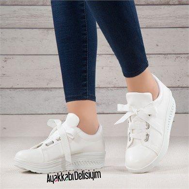 Fuka Beyaz Yuksek Taban Spor Ayakkabi Ayakkabilar Spor Tabata