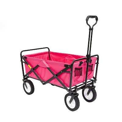Mac Sports Collapsible Folding Outdoor Garden Utility Wagon Cart Pink 2 Pack Wagon Cart Utility Wagon Beach Wagon Cart