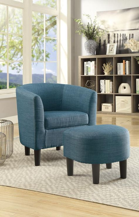 Best Dorris Fabric Accent Chair With Ottoman In Dorris Fabric Blue Accent Chairs Blue Accent 400 x 300