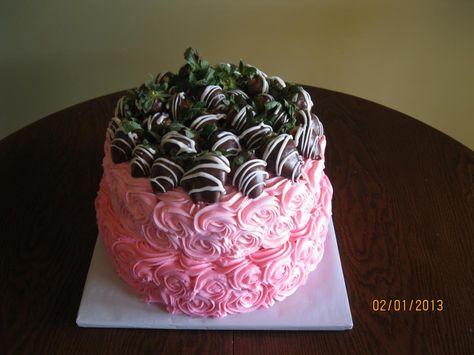 Rosette/Chocolate Covered Strawberry Cake